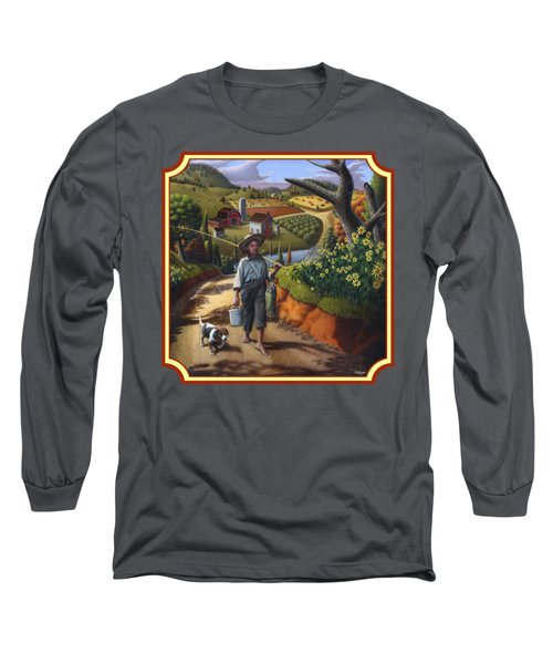 Boy And Dog Country Farm Life Landscape - Square Format Long Sleeve T-Shirt