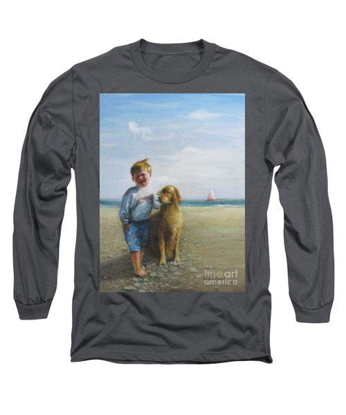 Boy And His Dog At The Beach Long Sleeve T-Shirt