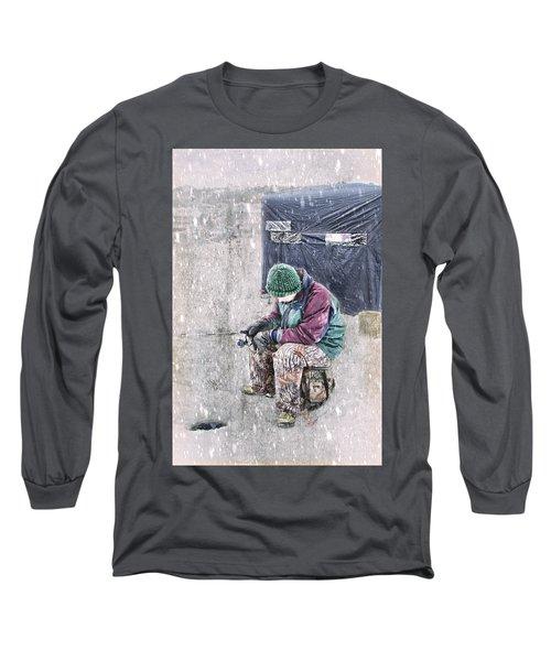 Boy Ice Fishing  Long Sleeve T-Shirt