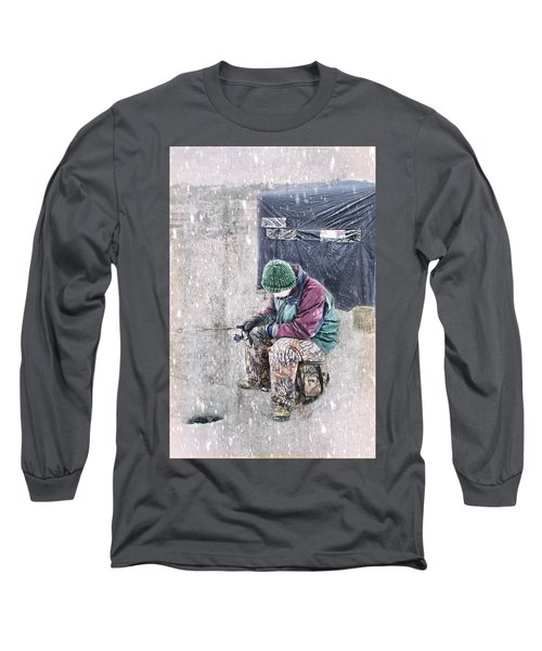 Boy Ice Fishing  Long Sleeve T-Shirt