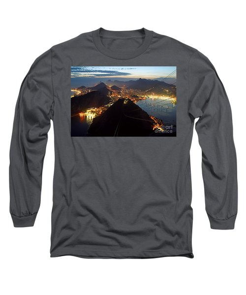 Long Sleeve T-Shirt featuring the photograph Brasil,rio De Janeiro,pao De Acucar,viewpoint,panoramic View,copacabana At Night by Juergen Held