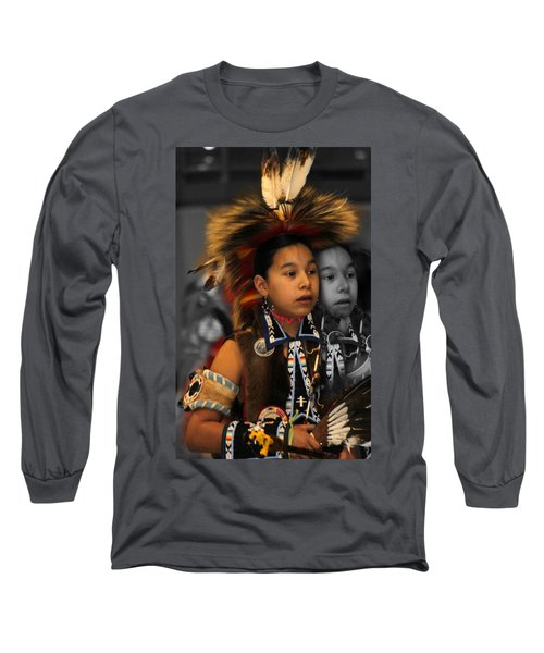 Brave And His Shadow Long Sleeve T-Shirt by Audrey Robillard