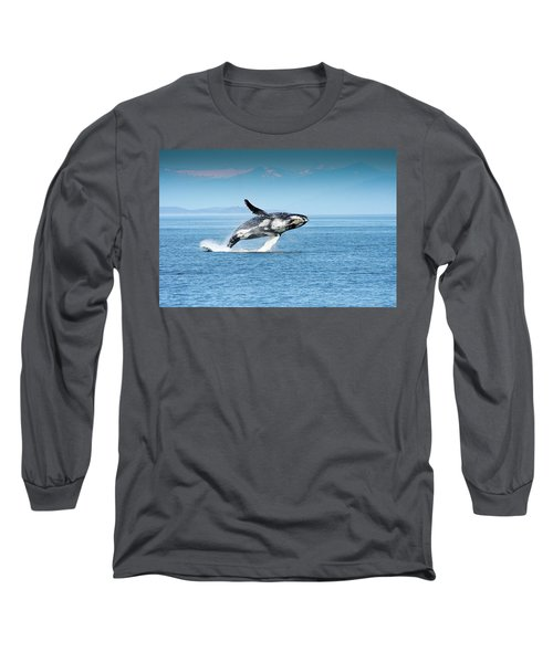 Breaching Humpback Whales Happy-4 Long Sleeve T-Shirt
