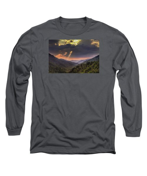 Long Sleeve T-Shirt featuring the photograph Breaking Thru At Sunset by Andrew Soundarajan