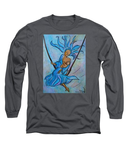 Long Sleeve T-Shirt featuring the painting Breastfeeding Everywhere Breastfeeding On A Swing by Gioia Albano