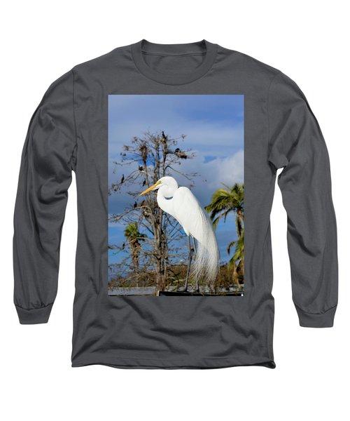 Breezy Egret Long Sleeve T-Shirt by Josy Cue