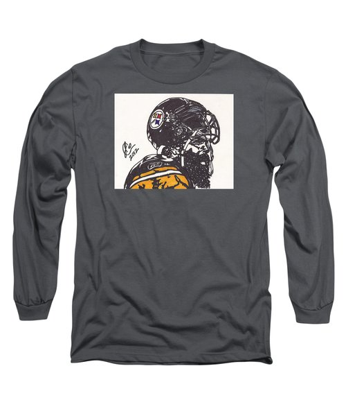 Long Sleeve T-Shirt featuring the drawing Brett Keisel by Jeremiah Colley
