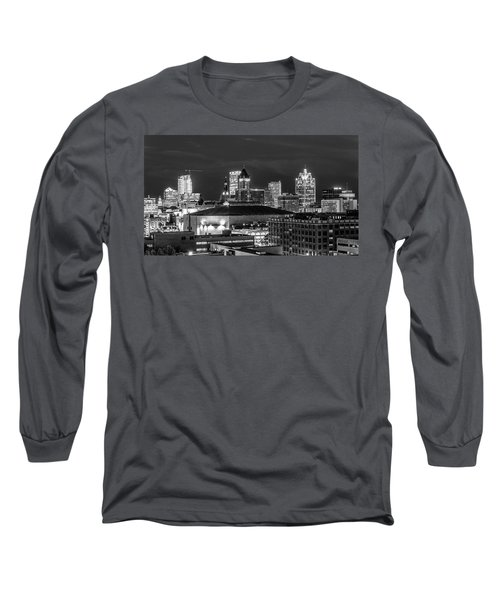 Long Sleeve T-Shirt featuring the photograph Brew City At Night by Randy Scherkenbach