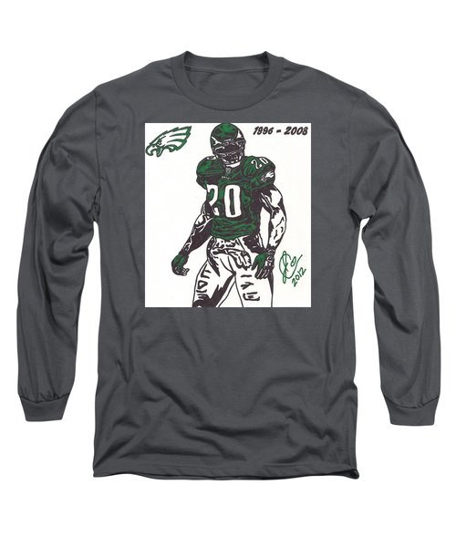 Long Sleeve T-Shirt featuring the drawing Brian Dawkins 3 by Jeremiah Colley