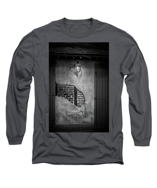 Bricks In The Wall In Black And White Long Sleeve T-Shirt