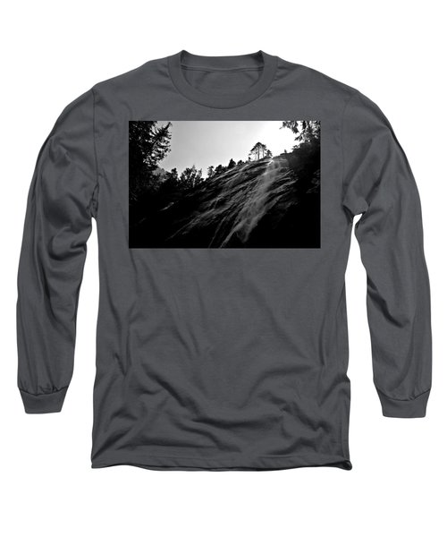 Bridal Veil Falls In Black And White Long Sleeve T-Shirt