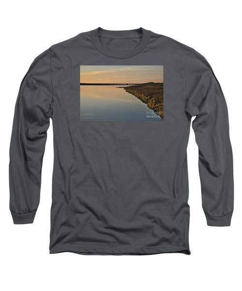 Bridge And Ria At Sunset In Quinta Do Lago Long Sleeve T-Shirt by Angelo DeVal