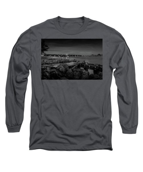 Bridge To Longboat Key In Bw Long Sleeve T-Shirt