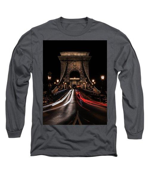 Bridges Of Budapest - Chain Bridge Long Sleeve T-Shirt by Jaroslaw Blaminsky