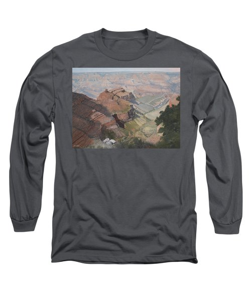 Bright Angel Trail Looking North To Plateau Point, Grand Canyon Long Sleeve T-Shirt by Barbara Barber