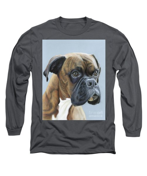 Long Sleeve T-Shirt featuring the painting Brindle Boxer Dog - Jack by Donna Mulley