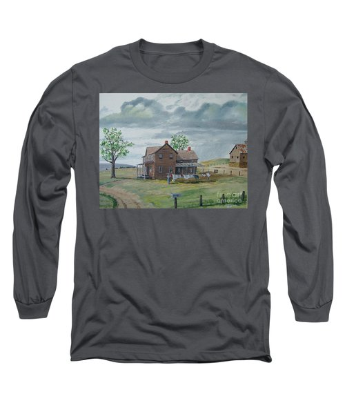 Bringing In The Clothes Long Sleeve T-Shirt by Norm Starks