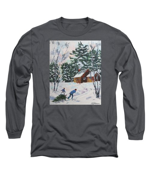 Bringing In The Tree Long Sleeve T-Shirt by David Gilmore