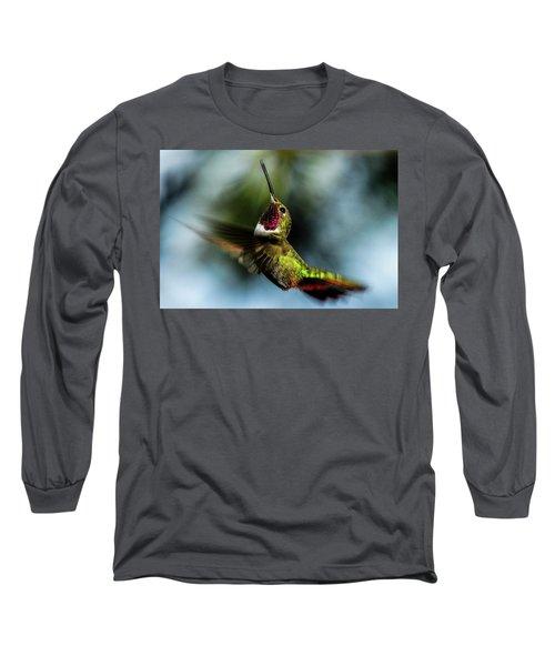 Broad-tailed Hummingbird In Flight Long Sleeve T-Shirt by Marilyn Burton