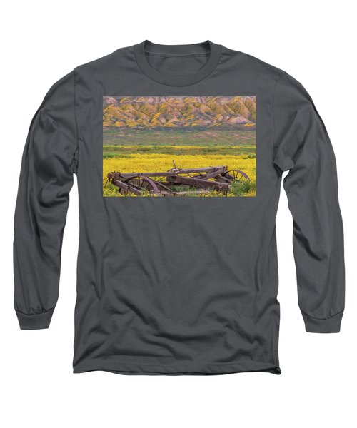 Broken Wagon In A Field Of Flowers Long Sleeve T-Shirt by Marc Crumpler