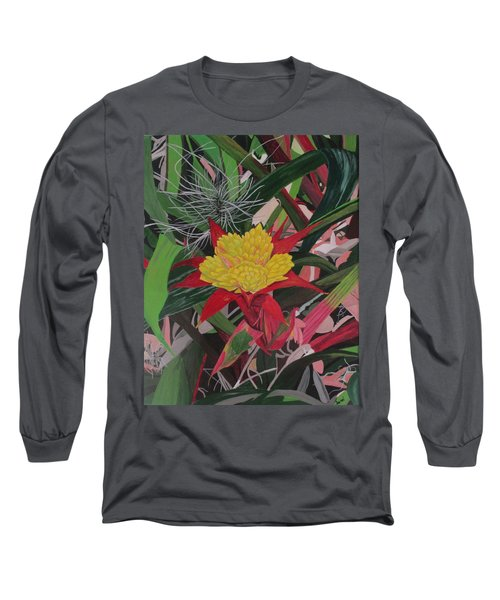 Long Sleeve T-Shirt featuring the painting Bromelaid And Airplant by Hilda and Jose Garrancho