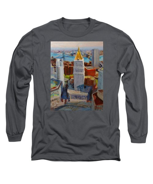 Brooklyn And East River Bridges From Foley Square Long Sleeve T-Shirt