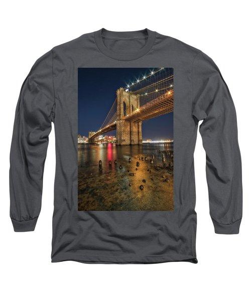 Brooklyn Bridge At Night Long Sleeve T-Shirt