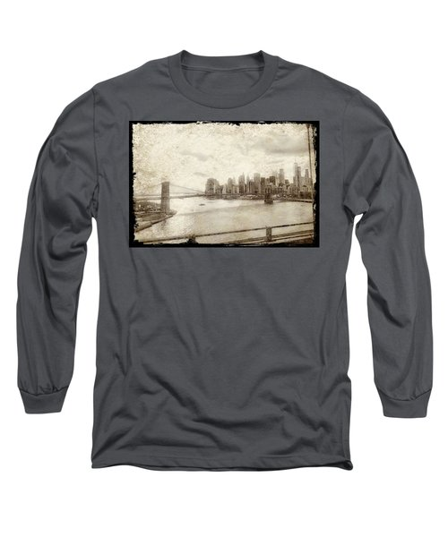 Long Sleeve T-Shirt featuring the painting Brooklyn Bridge by Joan Reese