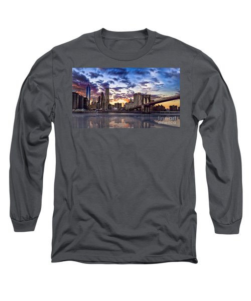 Brooklyn Bridge Manhattan Sunset Long Sleeve T-Shirt