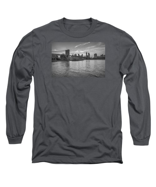 Brooklyn Bridge Monochrome Long Sleeve T-Shirt by Scott McGuire