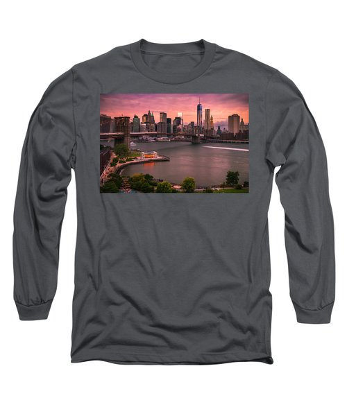 Long Sleeve T-Shirt featuring the photograph Brooklyn Bridge Over New York Skyline At Sunset by Ranjay Mitra