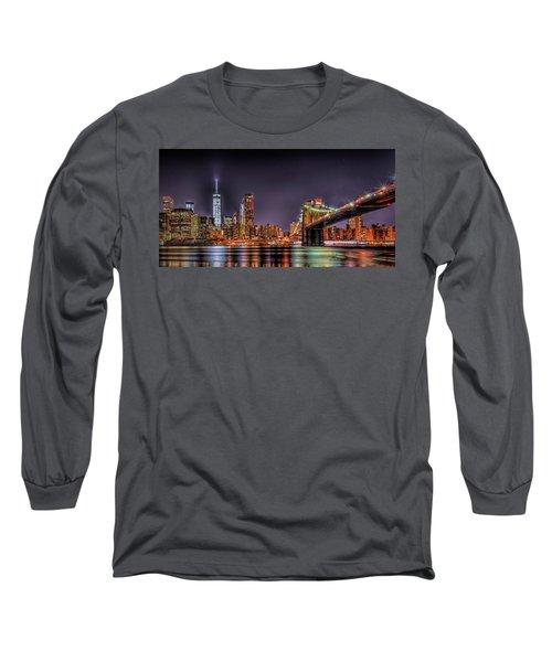 Long Sleeve T-Shirt featuring the photograph Brooklyn Bridge Park Nights by Theodore Jones