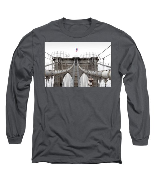 Long Sleeve T-Shirt featuring the photograph Brooklyn Bridge Top by Peter Simmons