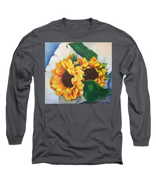 Long Sleeve T-Shirt featuring the painting Brooklyn Sun by Angela Armano