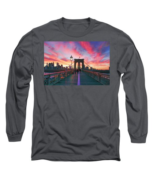 Brooklyn Sunset Long Sleeve T-Shirt by Rick Berk