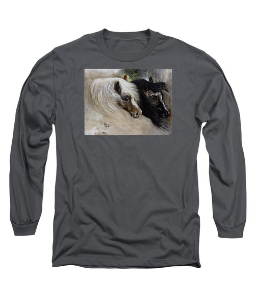 Long Sleeve T-Shirt featuring the painting Brothers by Barbie Batson