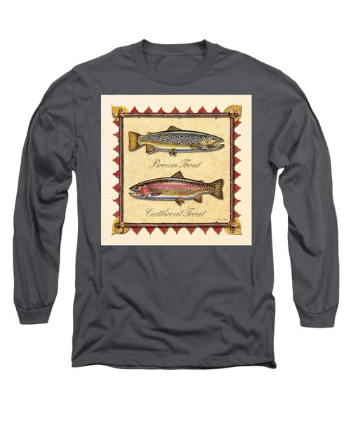 Brown And Cutthroat Creme Long Sleeve T-Shirt by JQ Licensing