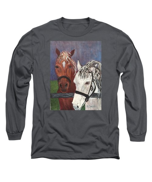 Brown And White Horses Long Sleeve T-Shirt