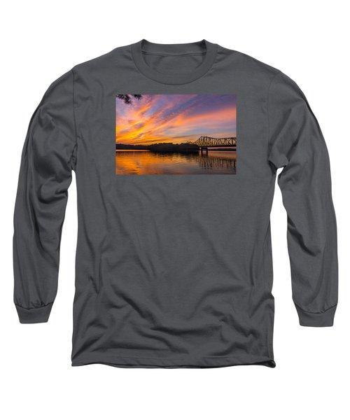 Browns Bridge Sunset Long Sleeve T-Shirt by Michael Sussman