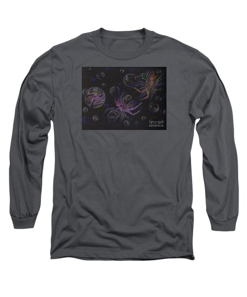 Long Sleeve T-Shirt featuring the drawing Bubble Wand by Dawn Fairies