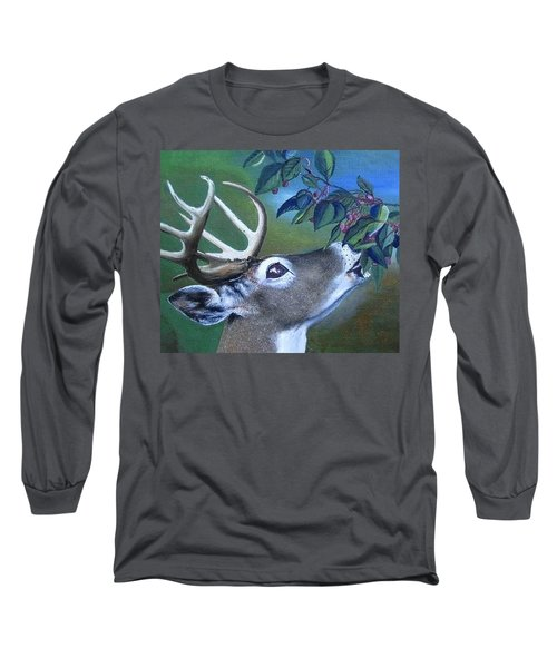 Long Sleeve T-Shirt featuring the painting Buck by Mary Ellen Frazee