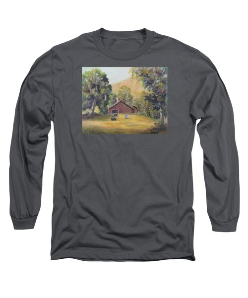 Long Sleeve T-Shirt featuring the painting Bucks County Pa Barn by Luczay