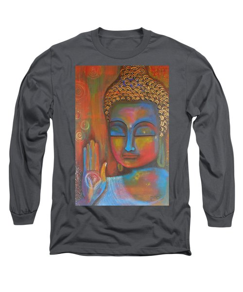 Long Sleeve T-Shirt featuring the painting Buddha Blessings by Prerna Poojara