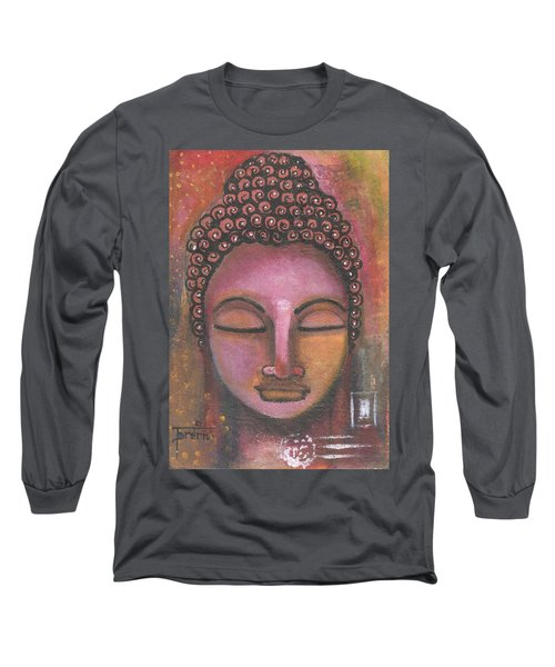 Long Sleeve T-Shirt featuring the mixed media Buddha In Shades Of Purple by Prerna Poojara