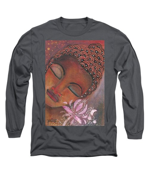 Long Sleeve T-Shirt featuring the painting Buddha With Pink Lotus by Prerna Poojara