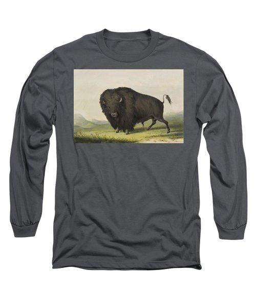 Buffalo Bull Grazing 1845 Long Sleeve T-Shirt