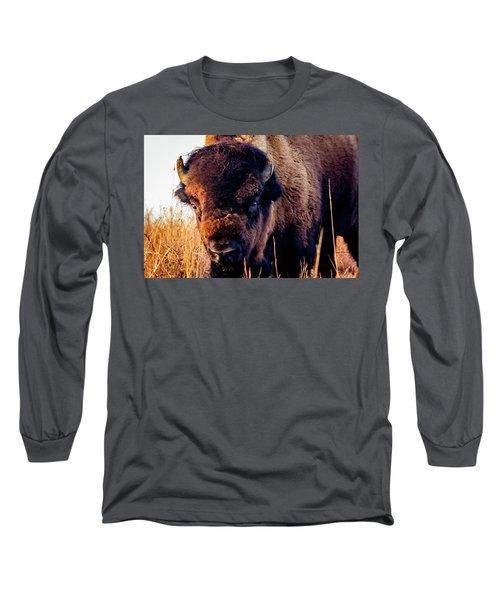 Buffalo Face Long Sleeve T-Shirt by Jay Stockhaus