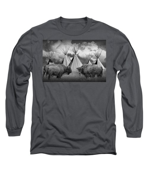 Buffalo Herd Among Teepees Of The Blackfoot Tribe Long Sleeve T-Shirt