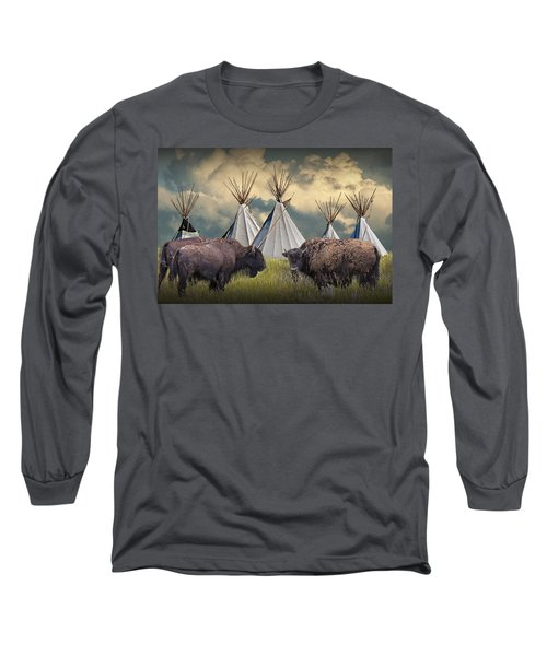 Buffalo Herd On The Reservation Long Sleeve T-Shirt