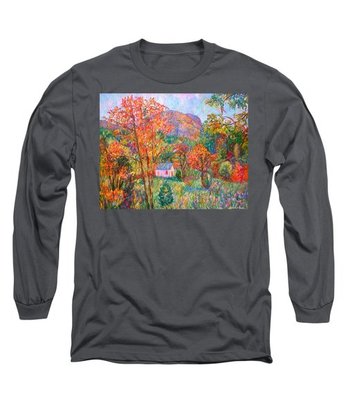 Long Sleeve T-Shirt featuring the painting Buffalo Mountain In Fall by Kendall Kessler